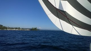 Flying the spinnaker aboard a Catana 472 catamaran on Puget Sound