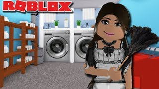 THE HOTEL MAIDS LAUNDRY ROOM on Amberry Hotel Update | Bloxburg Tour | Roblox
