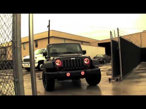 Jeep Halo Headlights >> Jeep Wrangler (2007-2014) Red Halo Headlights by ORACLE - YouTube