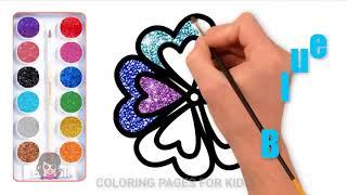 虹の色キラキラの花子供のためのぬりえのページ子供のための花を描く方法