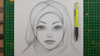 Başörtülü Kız Çizimi Nasıl Yapılır - How to Draw a Girl with a Headscarf