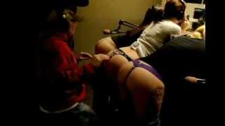 93X Half-Assed Morning Show Nick playing Stripper Butts as Drums!!! 93X