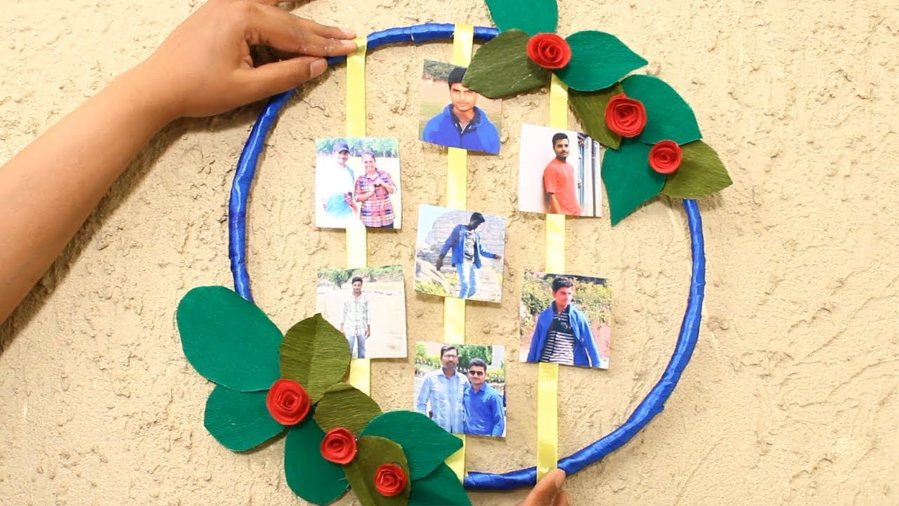 DIY Photo Display Ideas Photo Frame Wreath | Creative Photo Wall ...