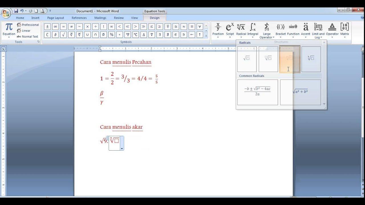 Cara Memasukkan Rumus Matematika Di Ms Word - Matematika Dasar
