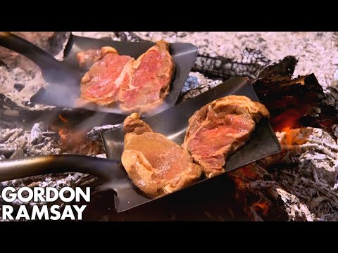 Gordon Ramsay Cooks Steak On A Shovel