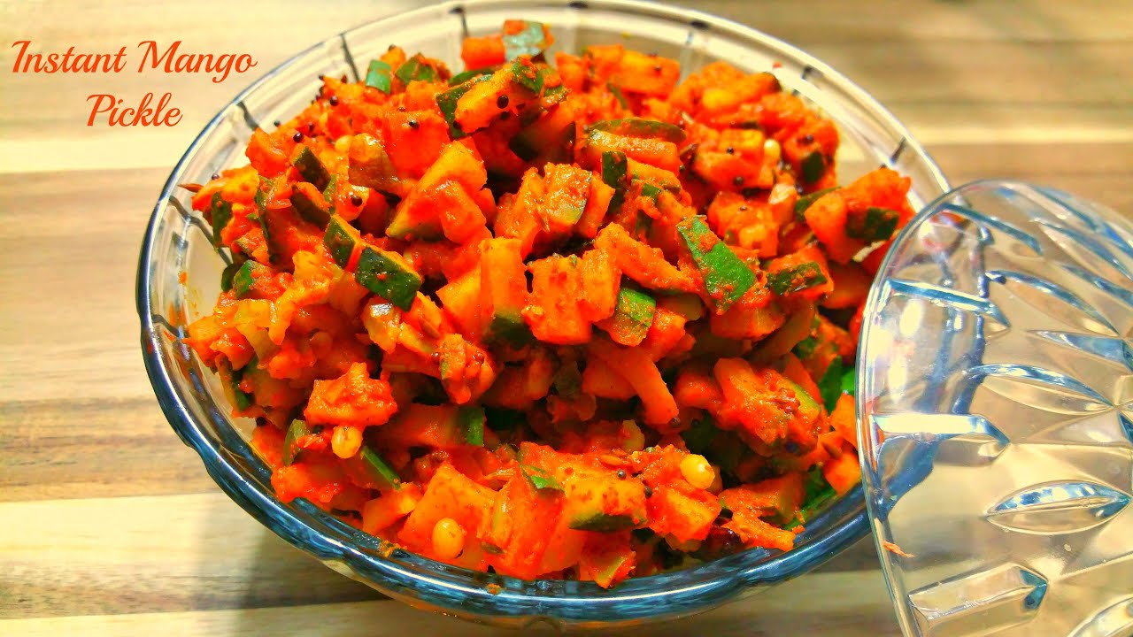 Instant Raw Mango Pickle  Andhra Style