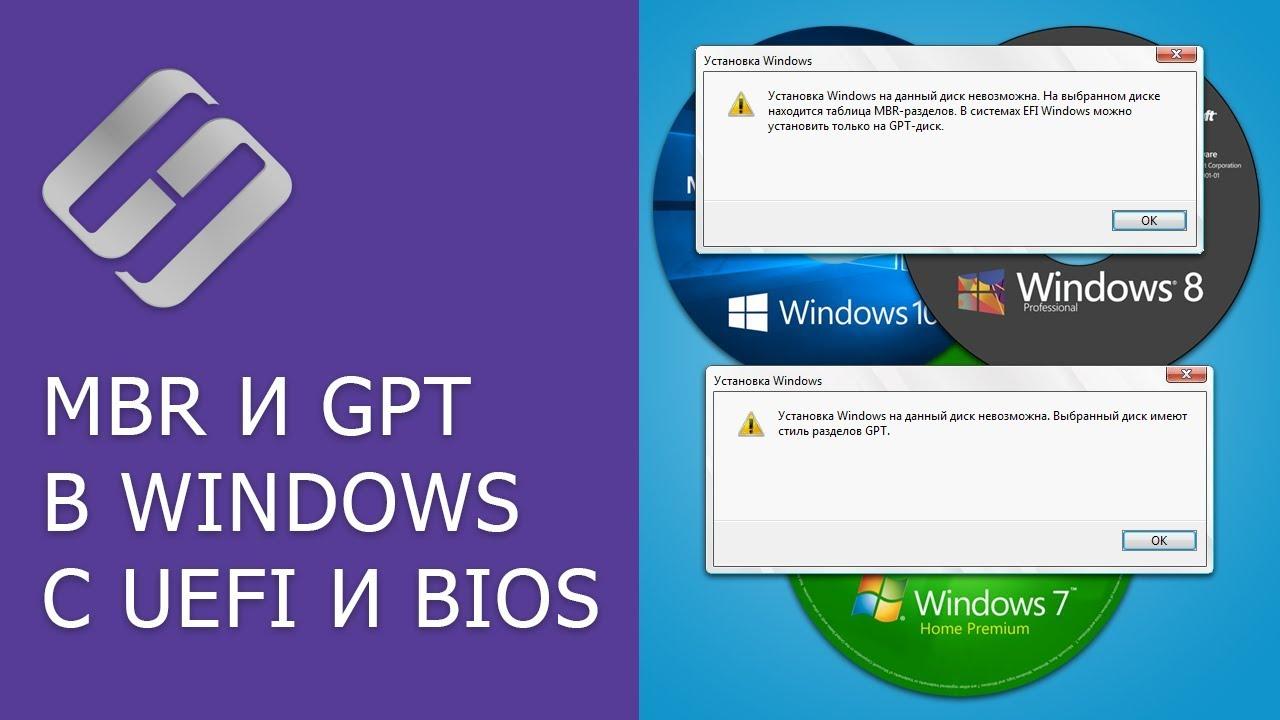 Преобразование MBR и GPT дисков: можно ли установить Windows на GPT, MBR диск в EFI и BIOS? ?? ?️