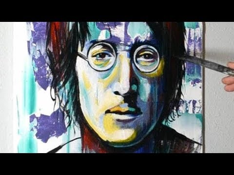 Painting John Lennon in Acrylics on Canvas - Contemporary Modern Art Style