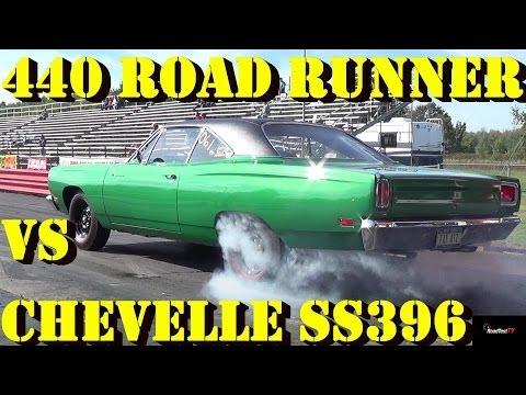 Rare 440 - 6 BBL / Pack Road Runner vs Chevelle SS 396 - 1/4 Mile Drag Race - Road Test TV ®