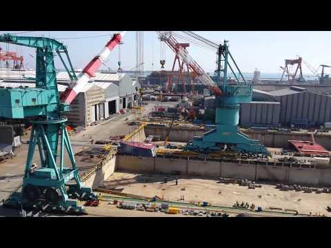 HHI Ulsan shipyard drydock.