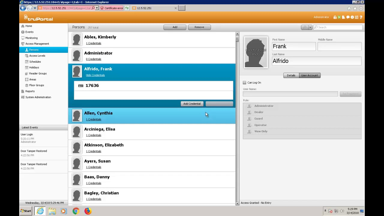 TruPortal - Addding Users - Credentials, Access Level, and Schedules