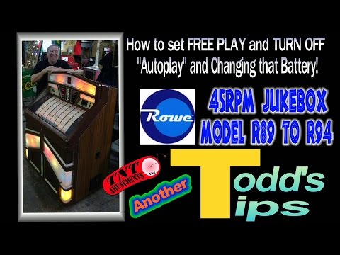 #1229 Rowe JUKEBOX R89 to R94-Setting FREE PLAY-Changing battery-Todd's Tips! TNT Amusements
