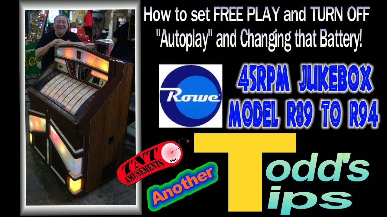 1229 Rowe JUKEBOX R89 to R94-Setting FREE PLAY-Changing