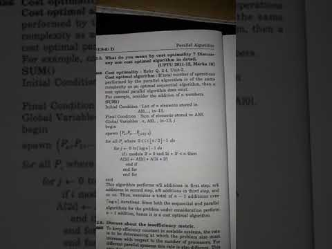 Cost optimality cost optimality algorithm parallel algorithm B tech computer science engineering 6th