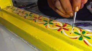 Gadapa Designs - Gummam Muggulu Design | Threshlod Painting | Gadapa Designing With Color Painting