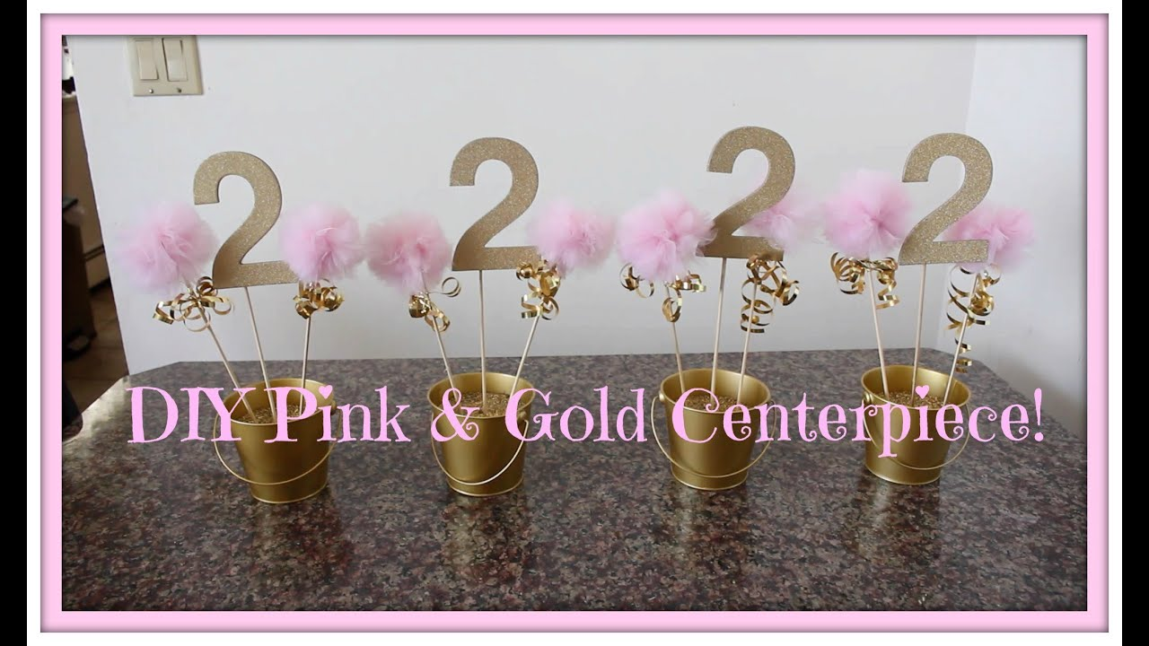 Diy Pink Amp Gold Centerpiece Youtube