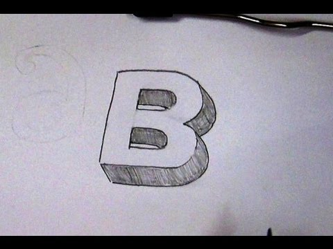 How To Write Letter B in 3D / Easy 3D Sketch Tutorial For Kids
