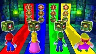 Mario Party 10 - Mario vs Peach vs Luigi vs Wario - Super Mario Minigames