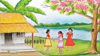 How to draw scenery of children's play /কানামাছি খেলার দৃশ্য step by step
