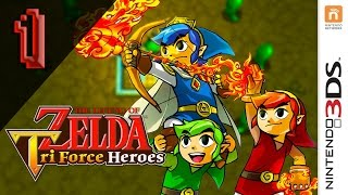 The Legend Of Zelda: Triforce Heroes - Walkthrough Part 1 - Stage 1-1 (Quick Whirling Walkthrough)