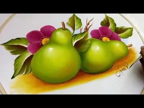 Como pintar frutas peras how to paint pears youtube - Dibujos para pintar en tela infantiles ...