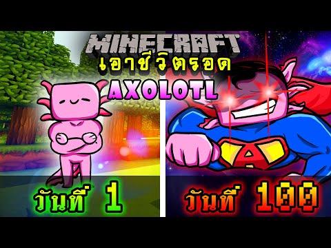 จะเกิดอะไรขึ้น!! เอาชีวิตรอด 100 วัน เป็นAxolotl ที่มีพลังซุปเปอร์แมน ตอนเดียวจบ   Minecraft 100days