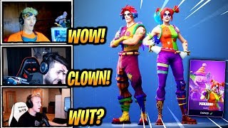 NINJA & STREAMERS REACT *NEW* NITE NITE & PEEKABOO CLOWN SKINS! - Fortnite Epic & Funny Moments