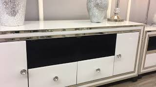 Madison White Mirrored Glass Large 2 Drawer 2 Door TV Cabinet Stand