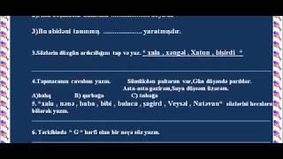 Azərbaycan dili-I sinif   Böyük summativ qiymətləndirmə №-1 test nümunəsi