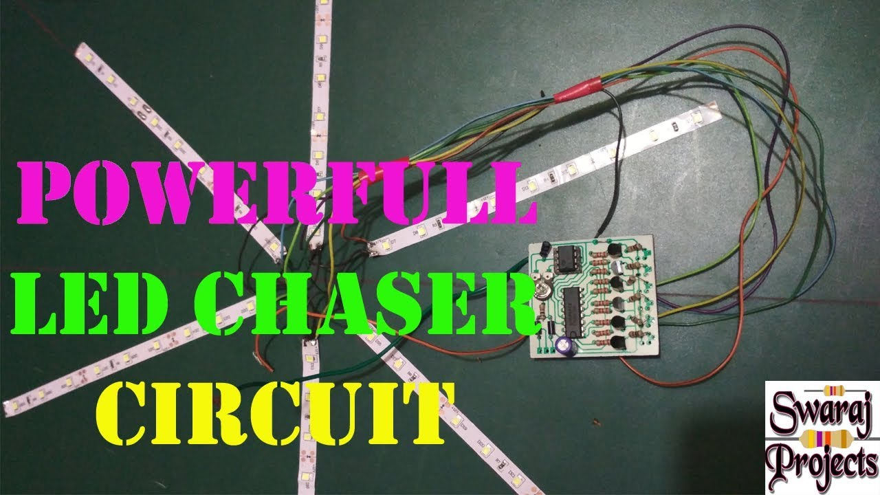 Led Chaser Circuit Powerful 6 Channel How To Make Mp3 Player At Home Using 555 Timer Cd4017