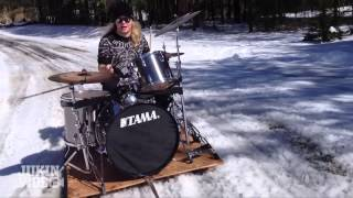 Winter Rock Concert | Drummer Pulled By Sleigh