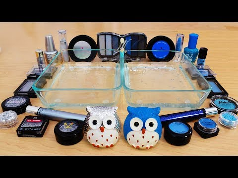 Silver vs Blue - Mixing Makeup Eyeshadow Into Slime! Special Series 81 Satisfying Slime Video