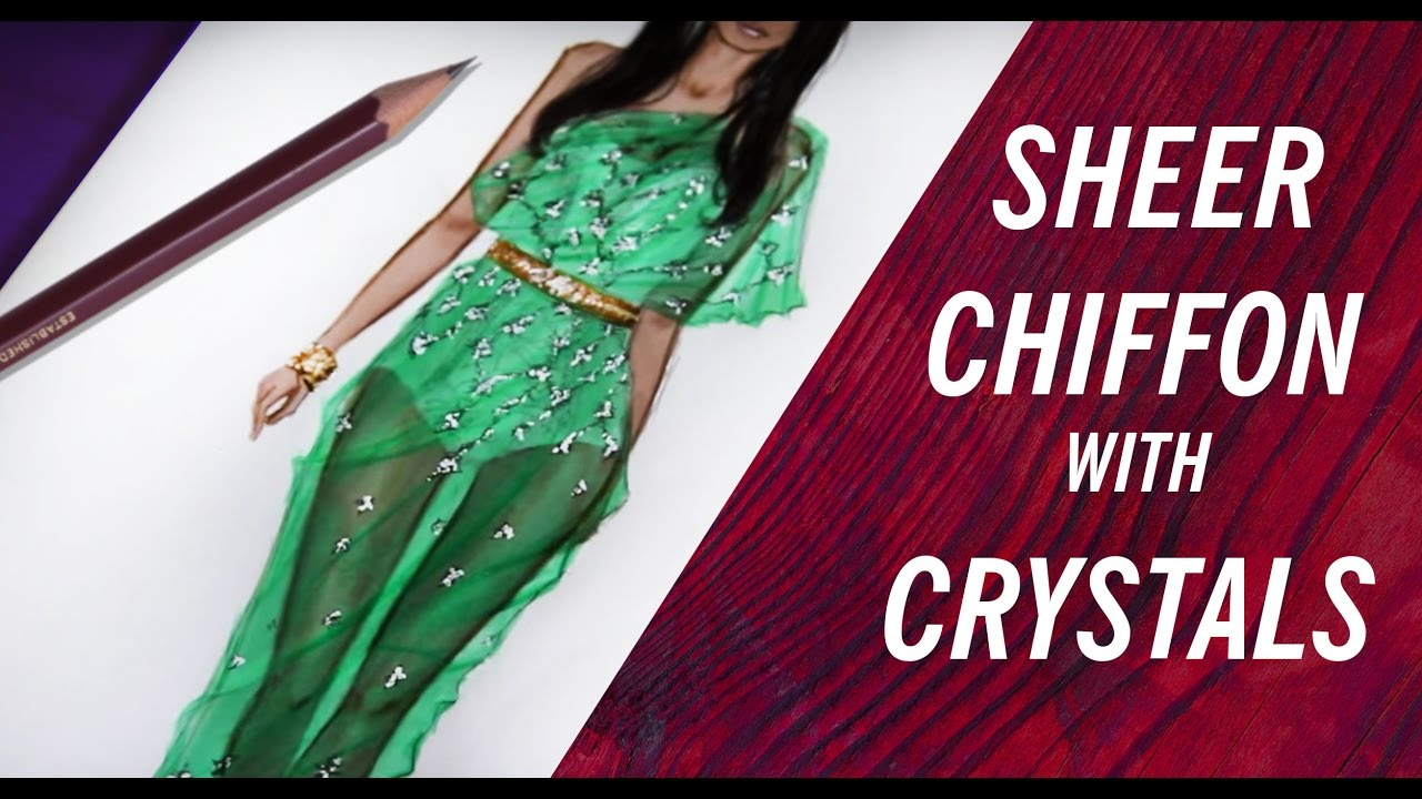 chiffon dress lace with crystals fashion drawing youtube