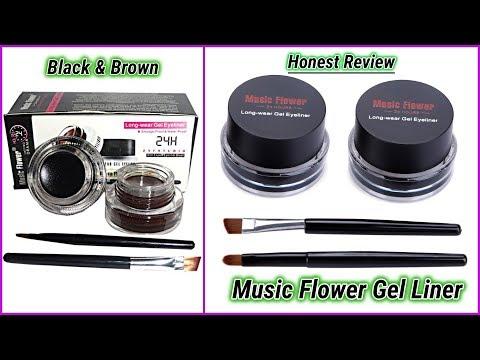 MUSIC Flower Gel Eyeliner Review In Hindi(Black & Brown)