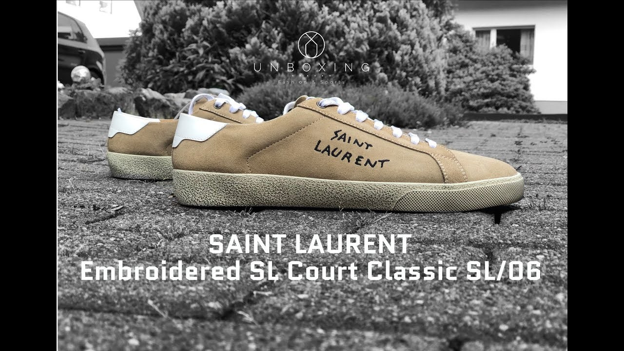 7c2616f921e SAINT LAURENT Embroidered Court Classic SL/06 'Desert' | UNBOXING & ON FEET  | luxury shoes | 2018