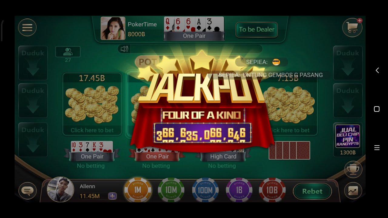 Poker Time Pulsa Jackpot 4 Of A Kind Youtube