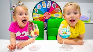 Mysterious Wheel of Ice Cream Challenge with Gaby and Alex