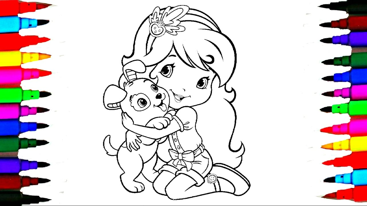 strawberry shortcake berry best friend dog coloring book pages l videos for children l learn colors - Strawberry Shortcake Coloring Book