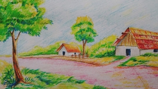 landscape drawing draw easy tutorial drawings beauti paintingvalley