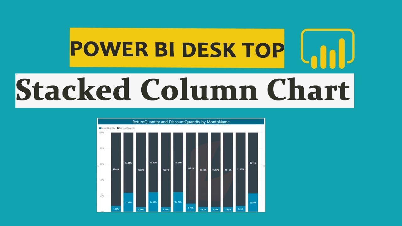 How to create stacked column chart in power bi desktop telugu part also rh youtube