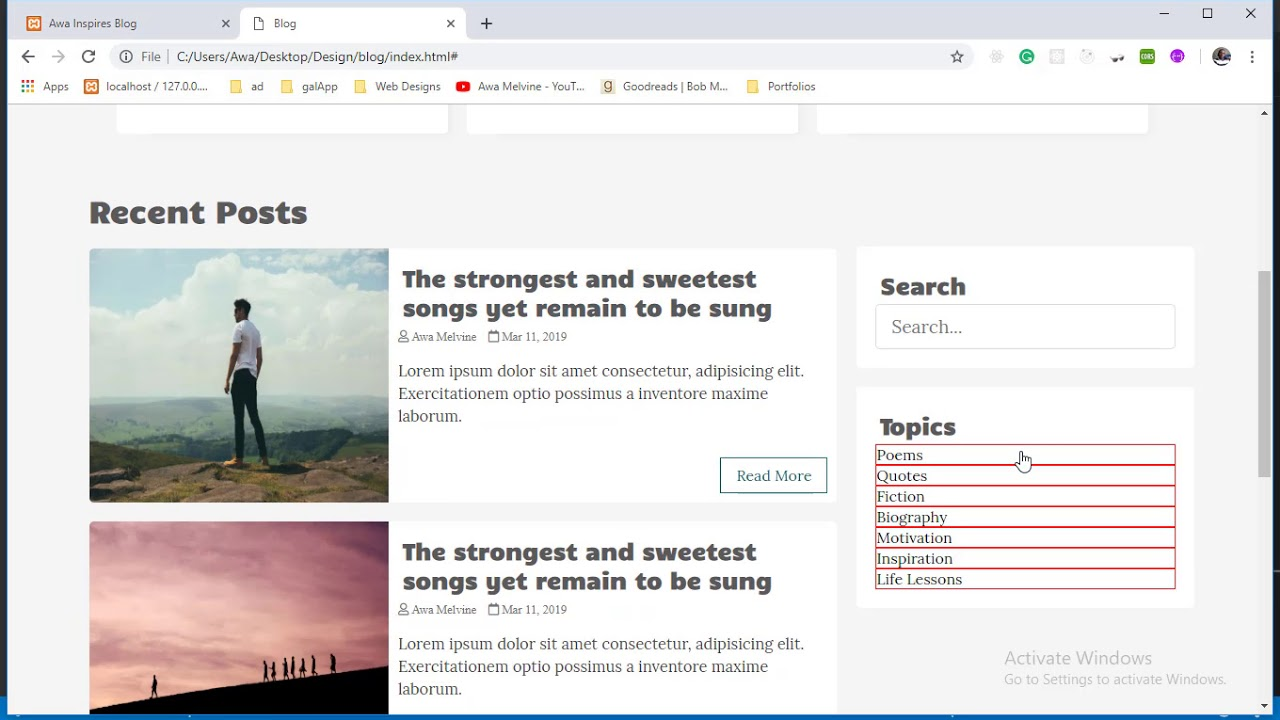 Designing the blog sidebar | Designing a Blog with HTML and CSS