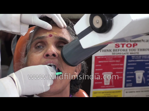 Dental work in India: woman gets a root canal done