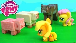 MLP Fashems Apple Jack Fluttershy My Little Pony MineCraft Game Animals Pig Cow Sheep Chicken Farm