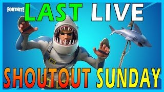 "MY LAST LIVE SHOUTOUT SUNDAY STREAM - NEW "" CHOMP SR."" SKIN in FORTNITE // 240+ SOLO WINS"