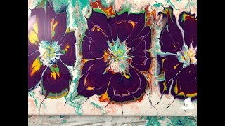 Acrylic Pour Painting / Purple Flowers Triple Bottom Bottle Pour by Mylene Ausdauer