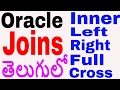 Oracle joins in telugu | Inner join | Left join | Right Join | Full Join | Cross Join