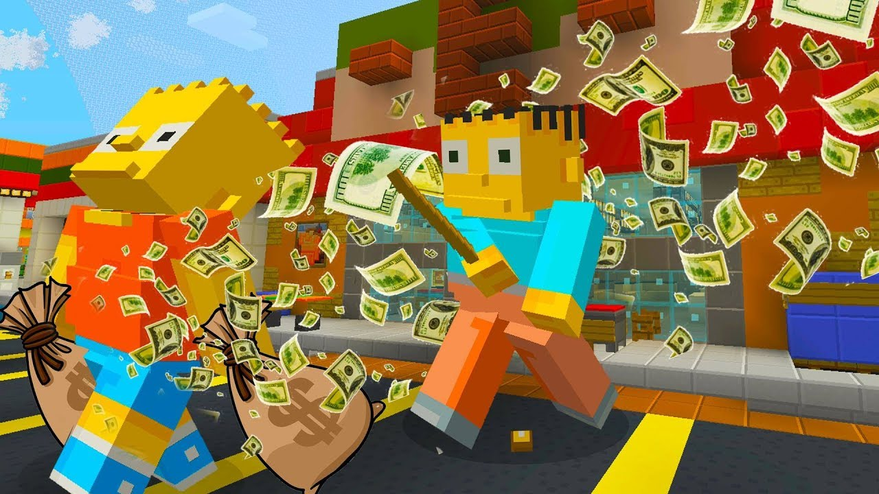 BART SIMPSON STEALS FROM THE KWIK E MART | The Simpsons | Minecraft Xbox