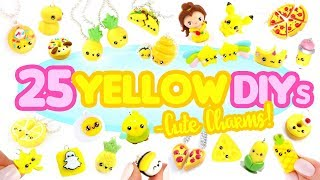 25 YELLOW DIY's in CLAY -Cute Clay charms! - BIG Polymer Clay Compilation!