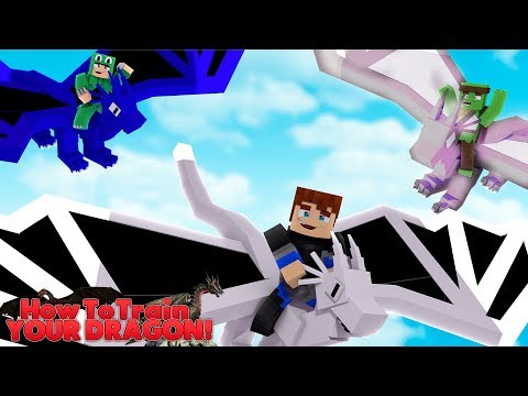 FLYING OUR DRAGONS FOR THE FIRST TIME EVER - Minecraft HOW TO TRAIN YOUR DRAGON