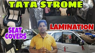|| TATA STROME 2018 || ASSESORIES || FLOOR LAMINATION || SEAT COVER ||